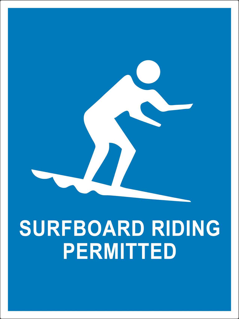 Surfboard Riding Permitted Sign