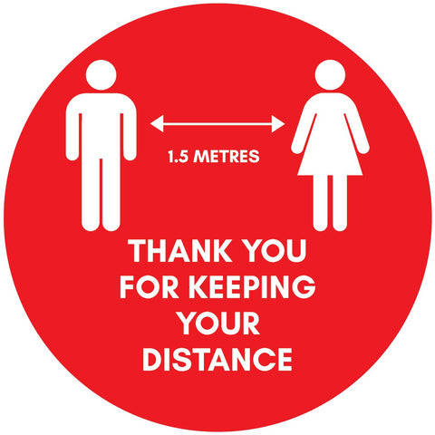 Thank You For Keeping Your Distance Floor Sticker - Anti Slip