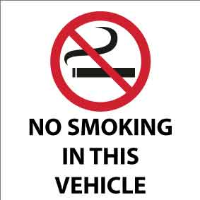 No Smoking In This Vehicle -Vehicle Sticker