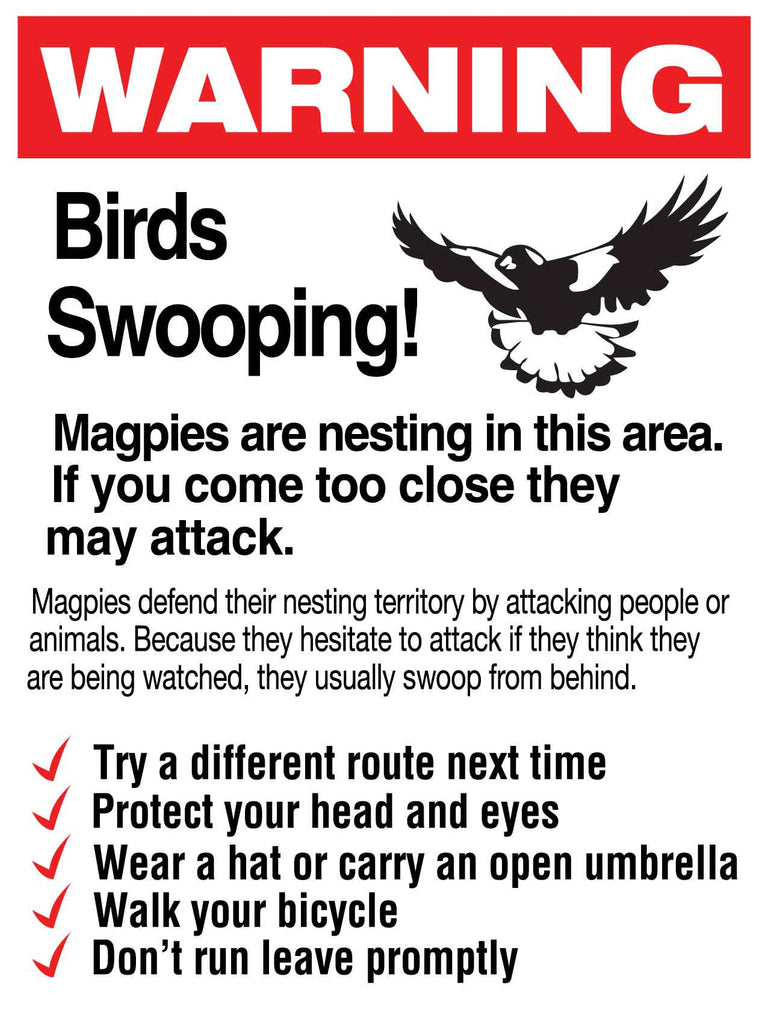 Warning Birds Swooping Sign