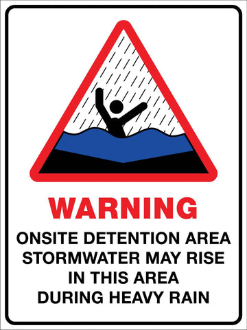Warning Onsite Detention Area Sign