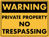 Warning Private Property No Trespassing Sign