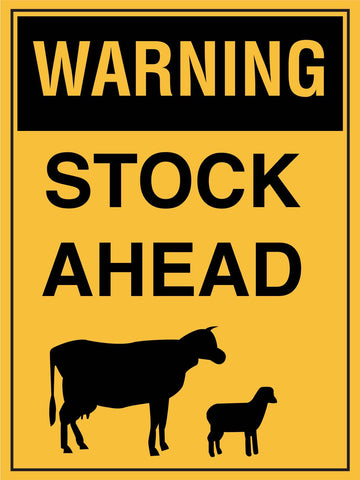 Warning Stock Ahead Sign