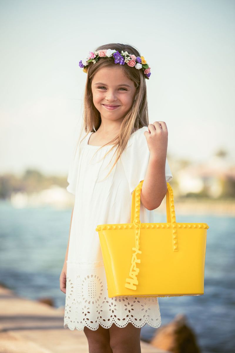 Yellow Mini Jelly Handbag Kid Small Bag rose scented studs tote