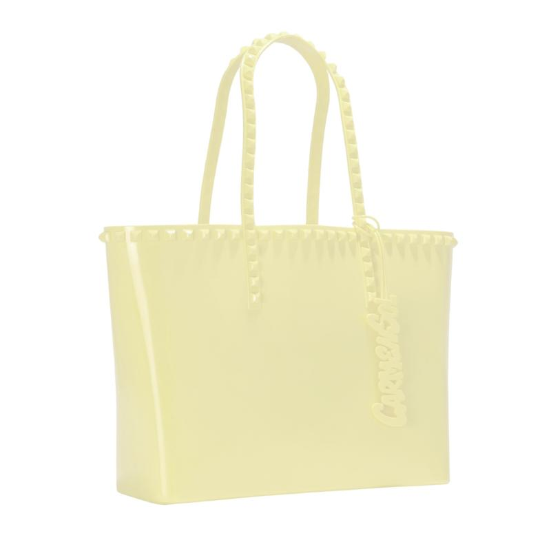 Jelly Handbag In Baby Yellow Studs Tote rose scented made in Italy