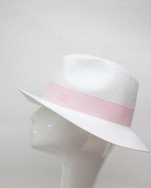 Fedora Hat Made In Italy White Baby Pink Band Packable