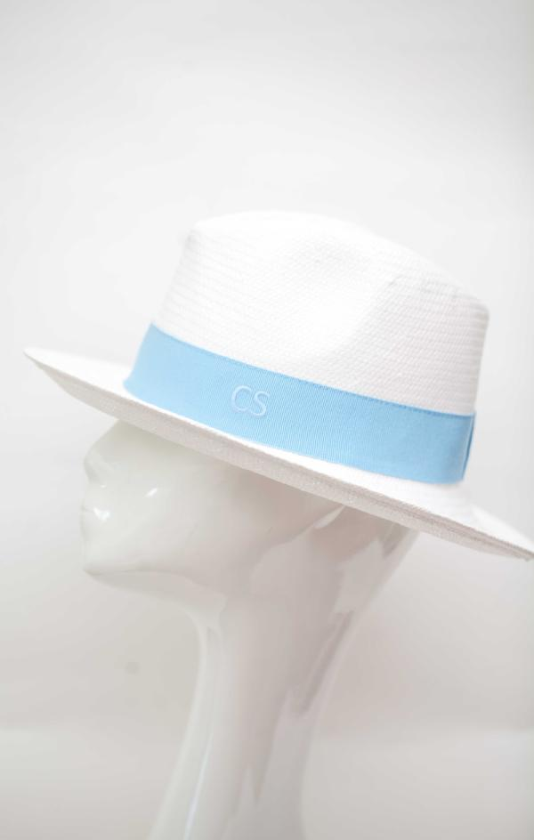 Fedora Hat Made In Italy White Baby Blue Band Packable