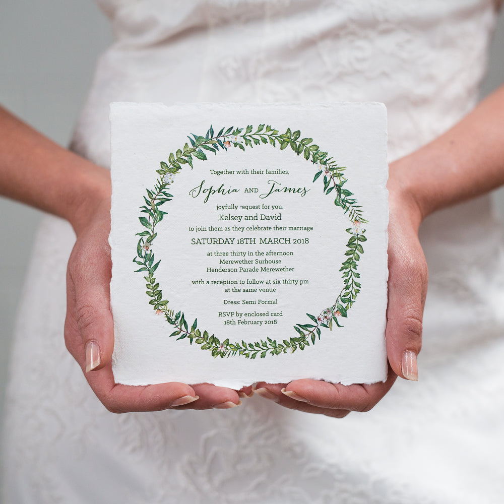 Botanical Wreath Deckled Edge Invitation