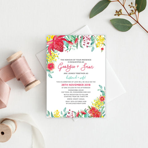 Ebony Script Rectangle Invitation
