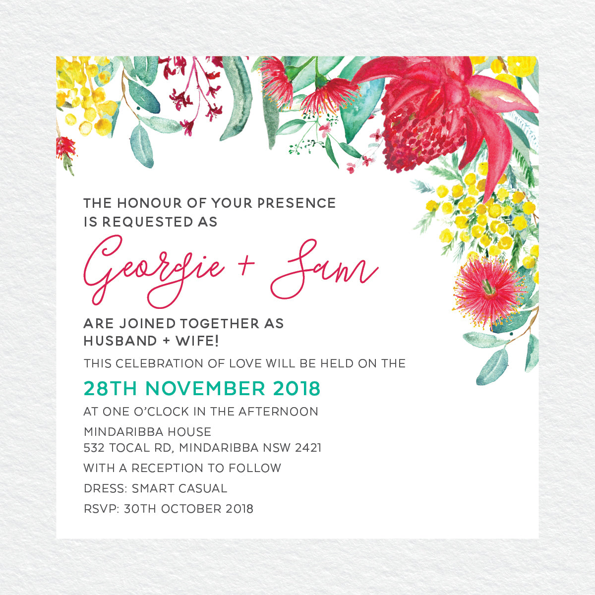 Australiana Square Invitation
