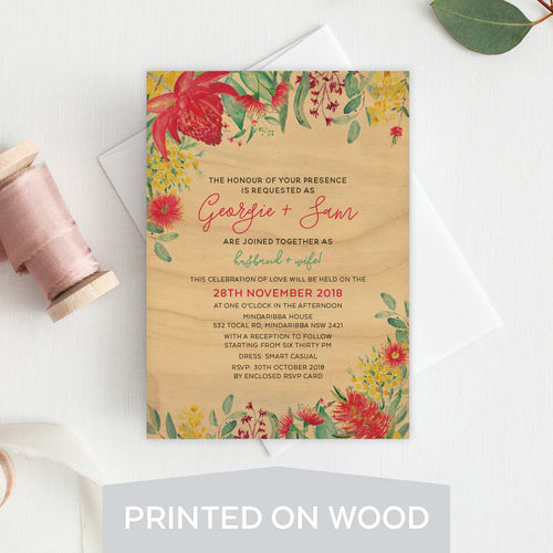 Australiana Wood Invitation