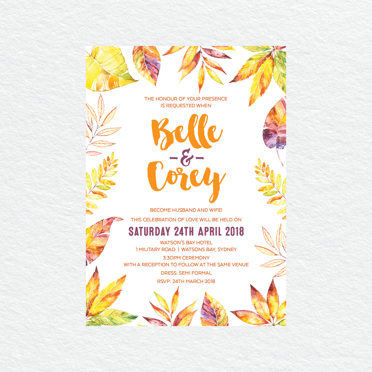 Autumn Vibes Rectangle Invitation