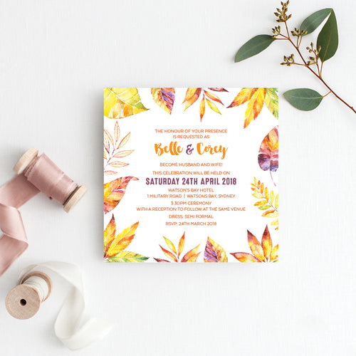 Autumn Vibes Square Invitation