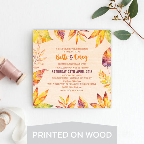 Autumn Vibes Wood Invitation