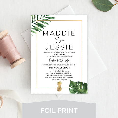 Modern Monogram Foil Invitation