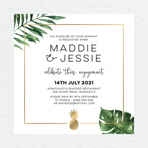 In Bloom (White) Engagement Invitation