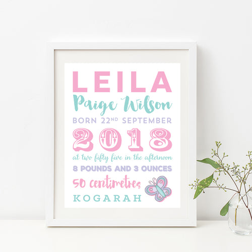 Flutterby Butterfly Birth Print