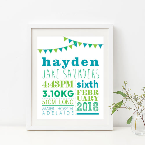 Bunting Birth Print - Boy
