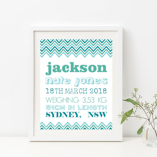 Chevron Typography Birth Print - Boy