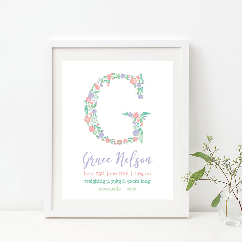 Floral Monogram Birth Print