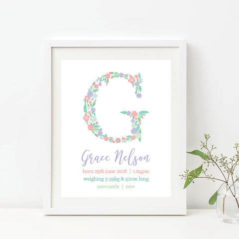 Vintage Monogram Birth Print - Girl
