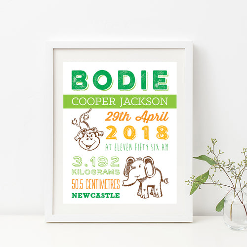 Monkey Around Birth Print