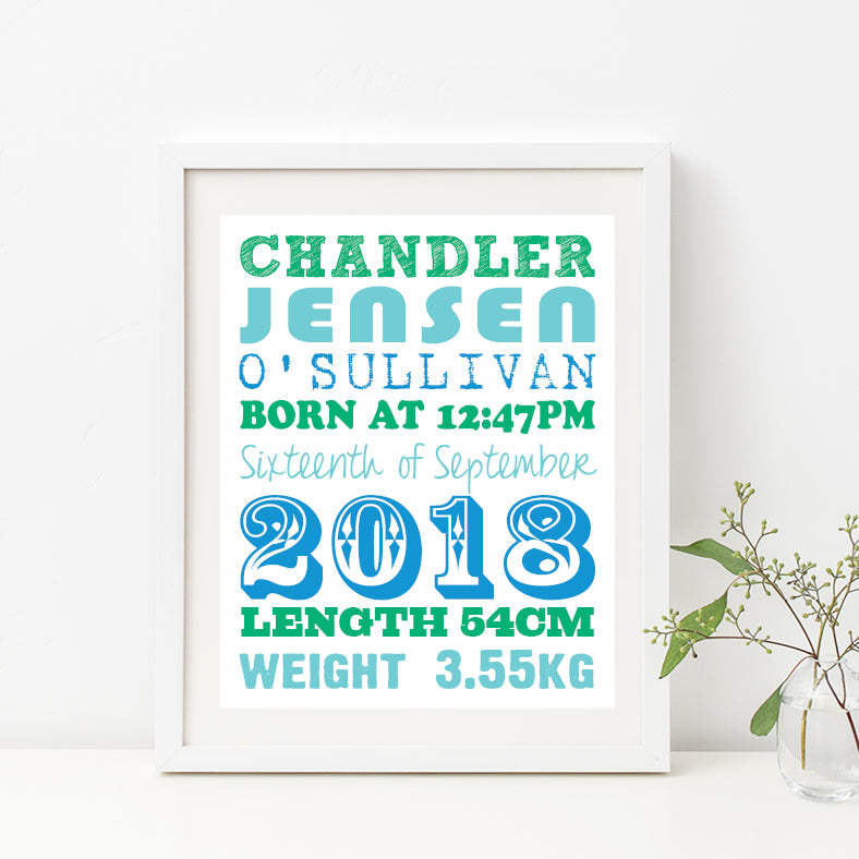 Straight Line Typography Birth Print - Boy
