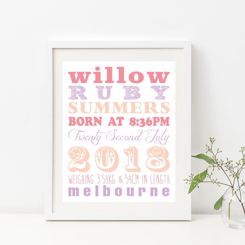 Straight Line Typography Birth Print - Girl