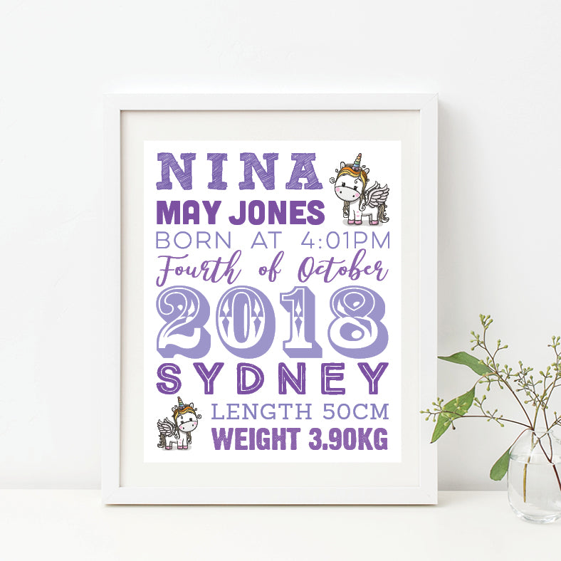 Unicorn Time Birth Print