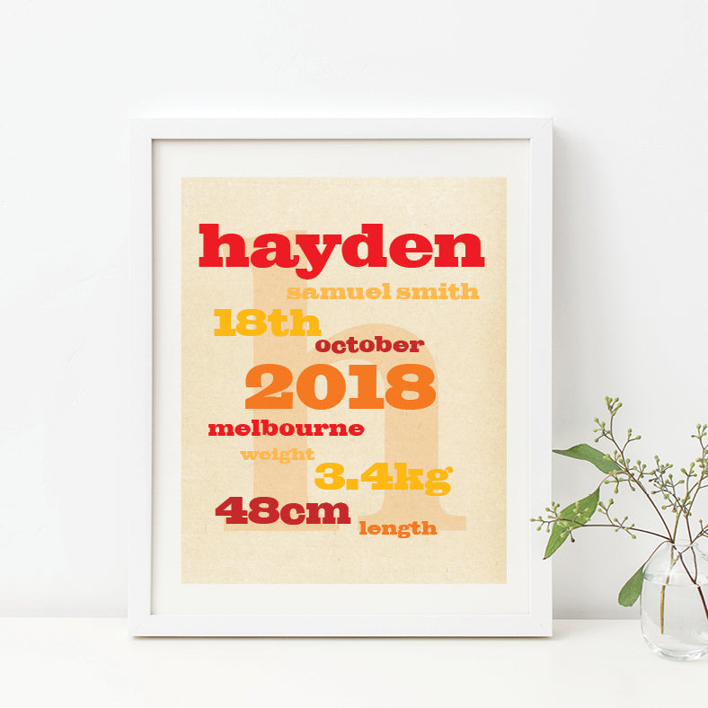 Vintage Typography Birth Print - Boy