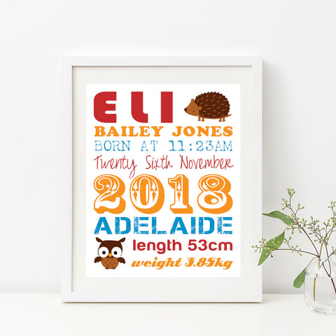 Train Typography Birth Print
