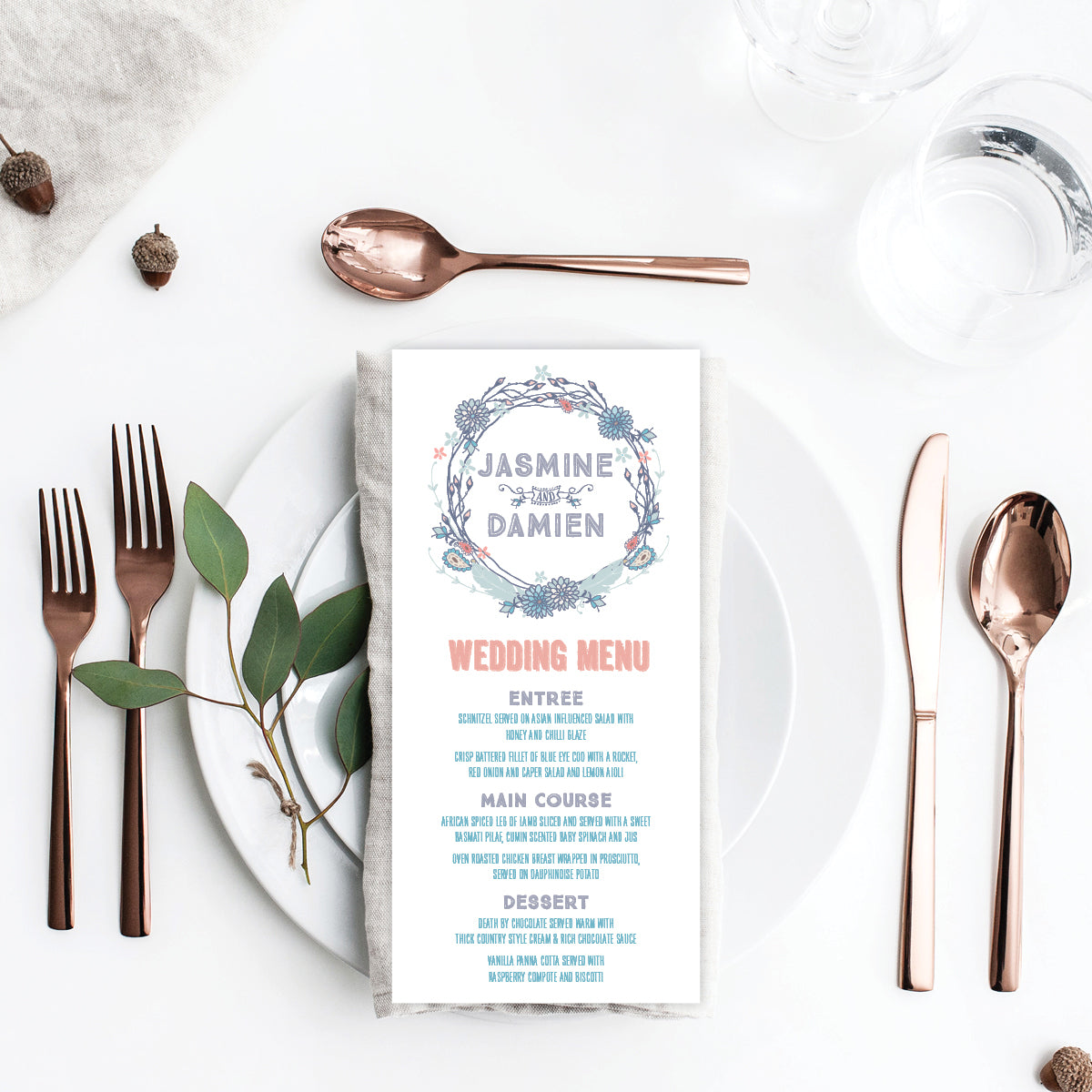 Boho Flourish Menu