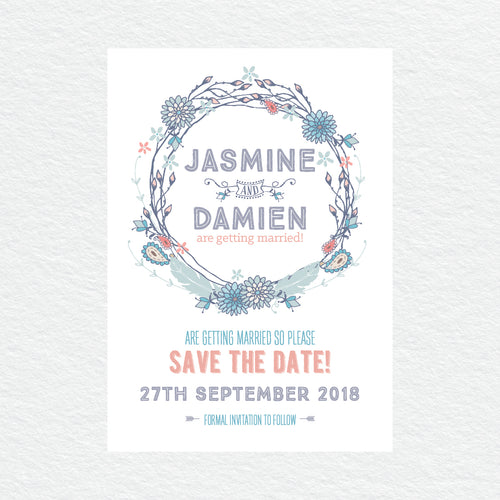 Boho Flourish Save the Date Card