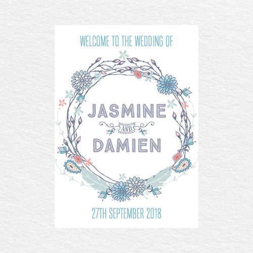 Boho Flourish Welcome Sign