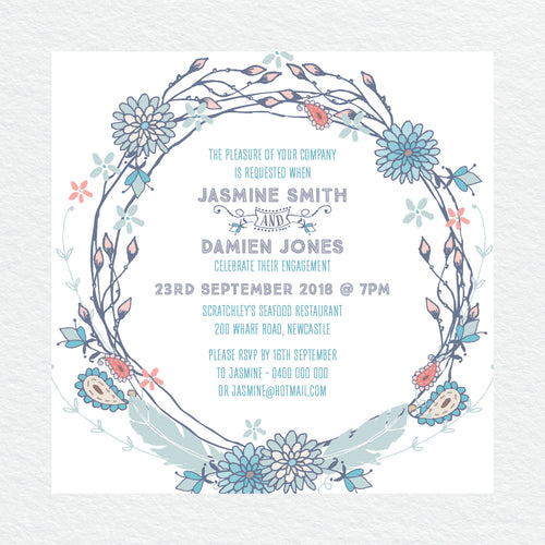 Boho Flourish Engagement Invitation