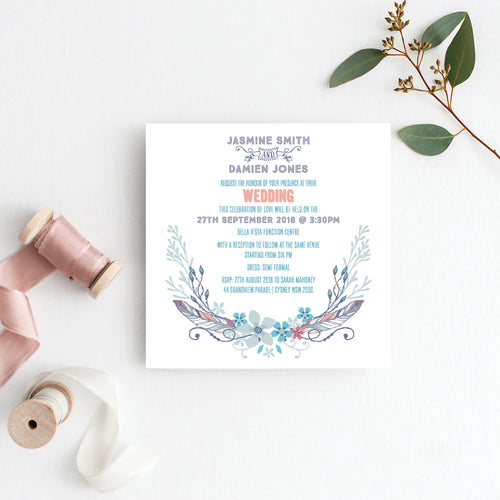 Boho Flourish Square Invitation
