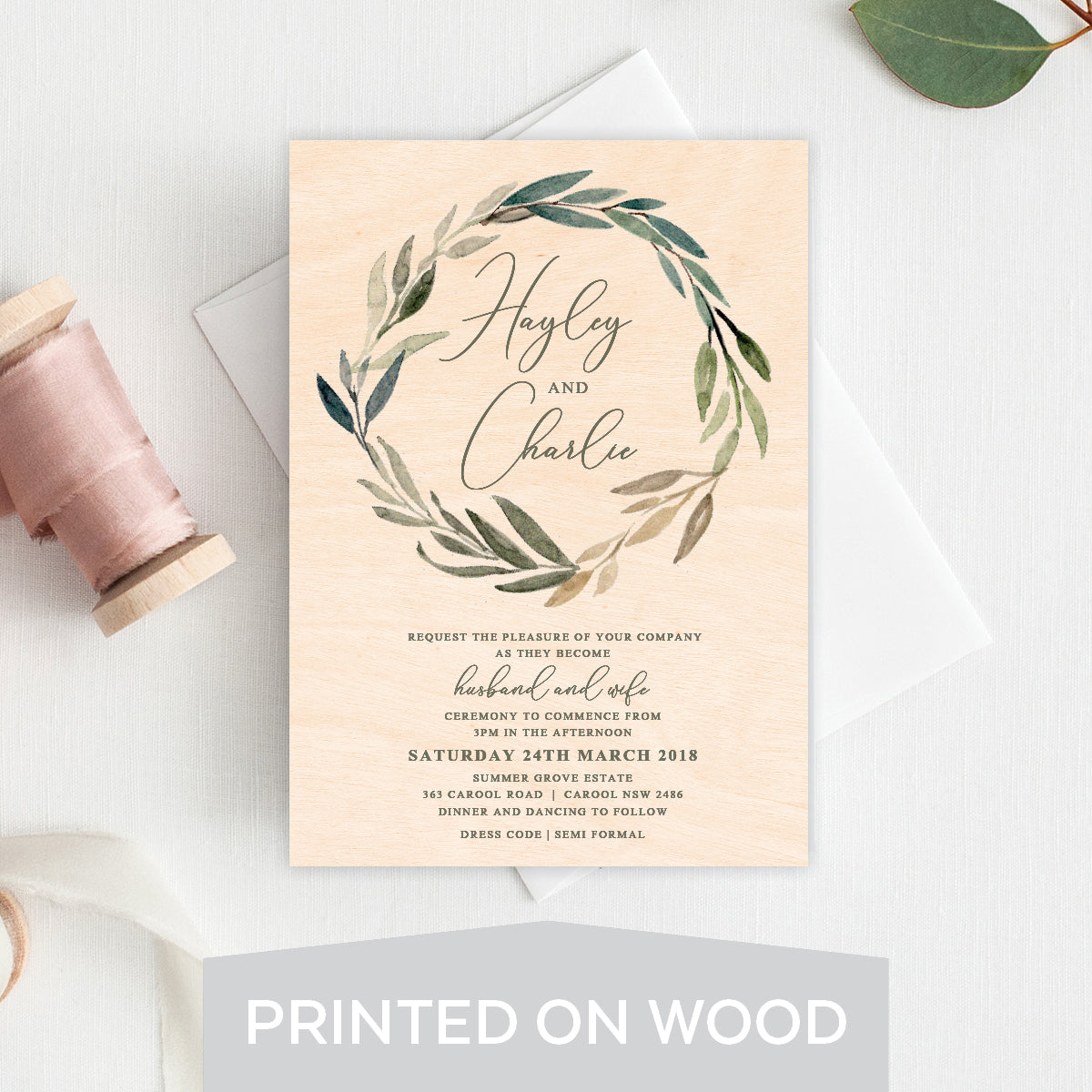 Botanical Bliss Wood Invitation