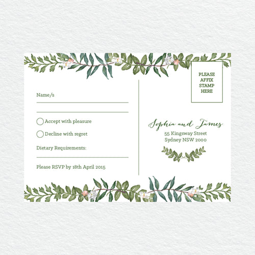 Botanical Wreath RSVP Card