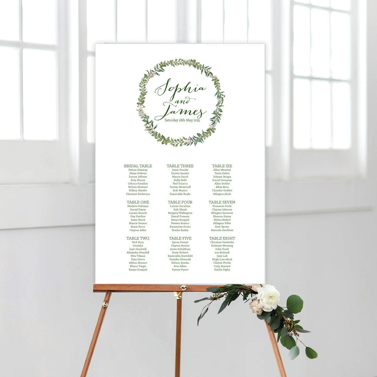 Botanical Wreath Seating Chart