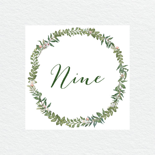 Botanical Wreath Table Numbers