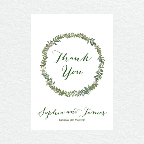 Botanical Wreath Thankyou Cards