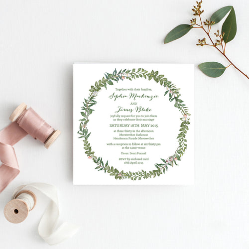 Botanical Wreath Square Invitation