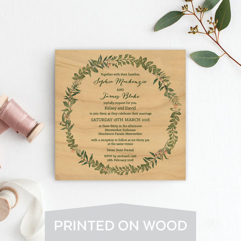 Boho Flourish Wood Invitation