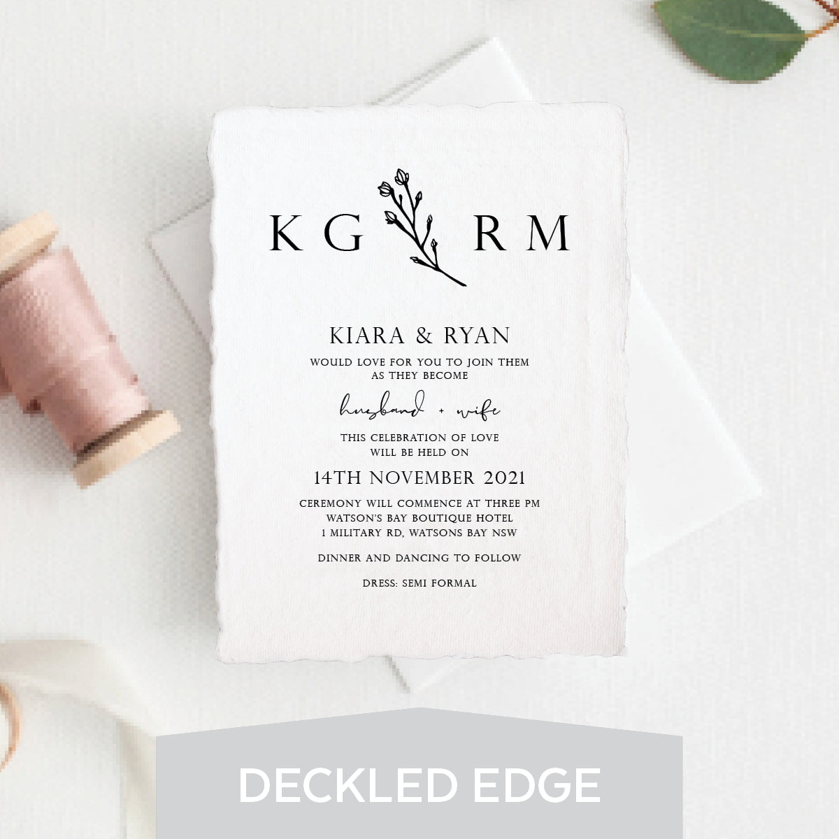 Branch of Love Deckled Edge Invitation