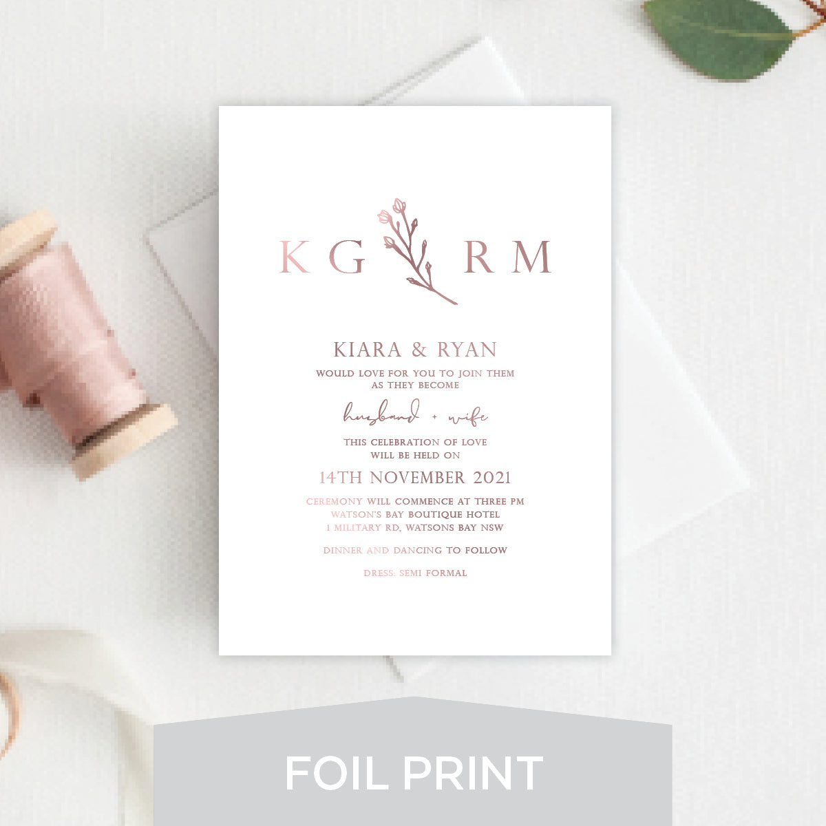 Branch of Love Foil Invitation