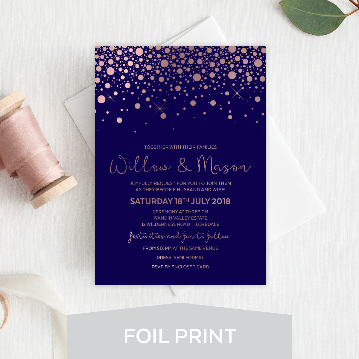 Confetti Party Foil Invitation