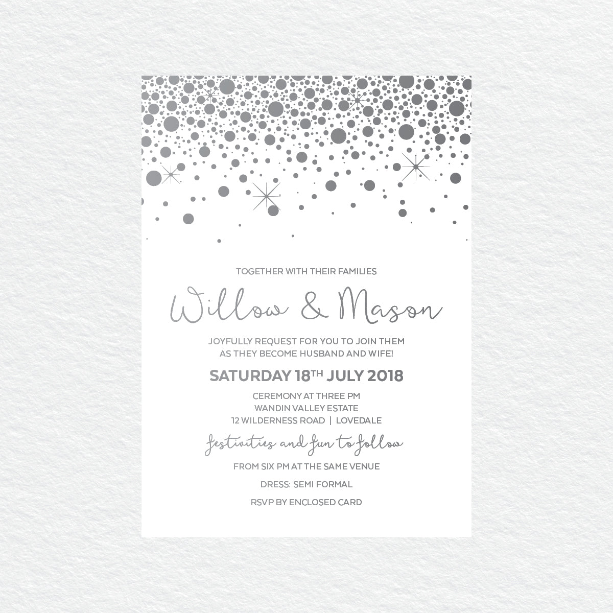 Confetti Party Rectangle Invitation