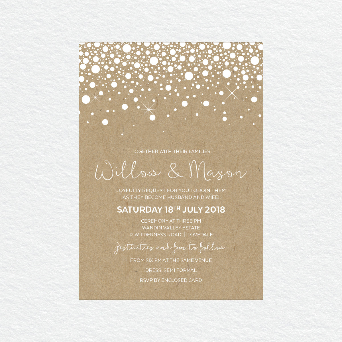 Confetti Party White Ink Invitation