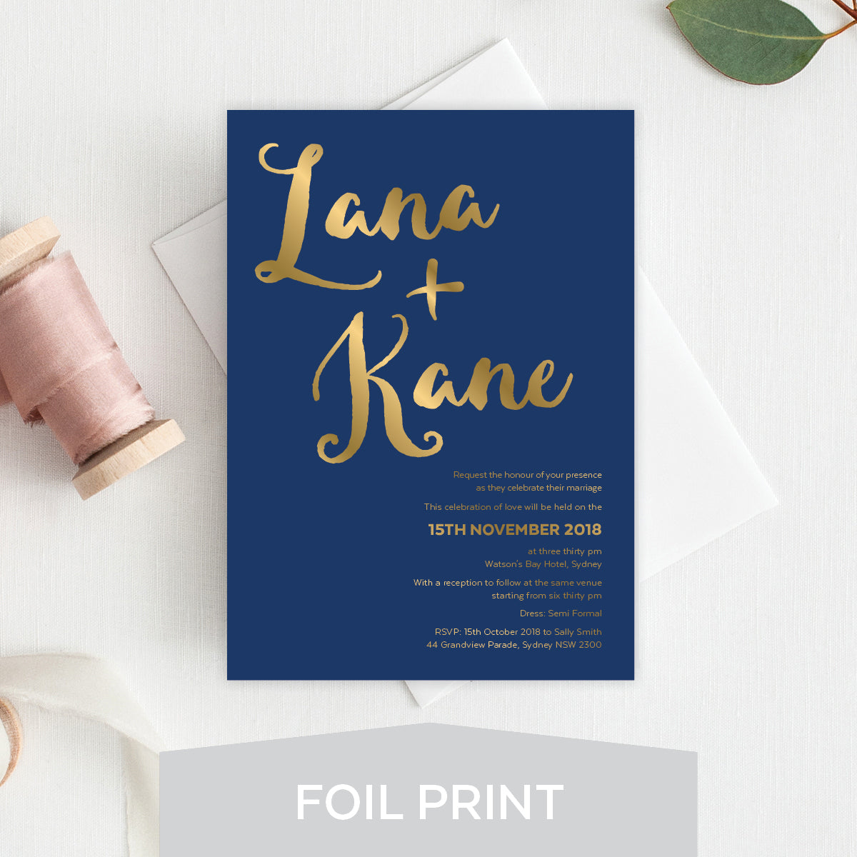 Deep Blue Foil Invitation