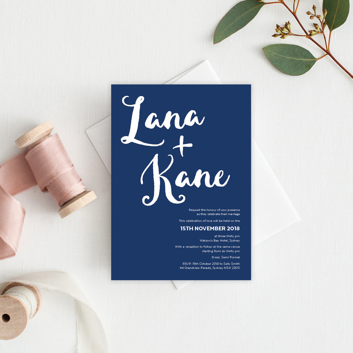 Deep Blue Rectangle Invitation